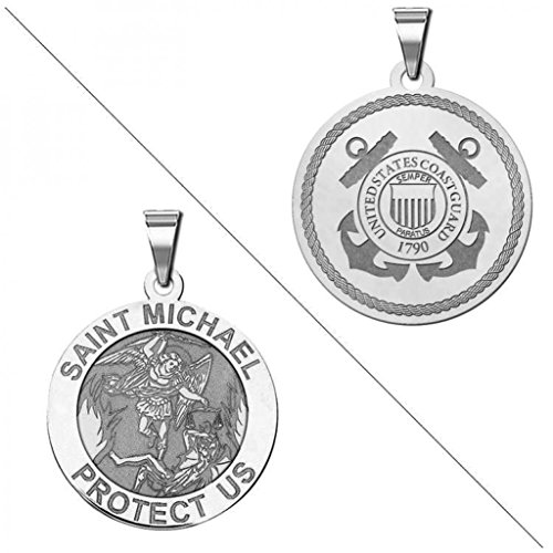Saint Michael Doubledside COAST GUARD Religious Medal - 2/3 Inch Size of a Dime - Solid 14K White (Coast Guard Medal)
