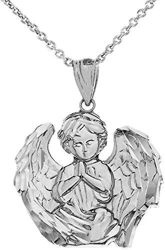 Angel Solid Polished Engravable Charm Pendant 925 Sterling Silver