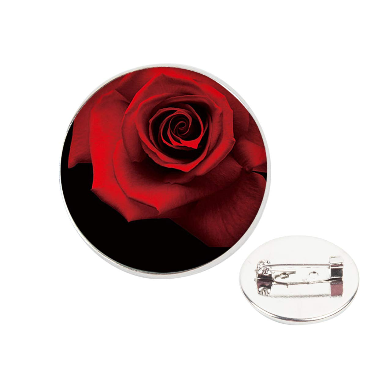 Pinback Buttons Badges Pins Red Rose Clear Image Lapel Pin Brooch Clip Trendy Accessory Jacket T-Shirt Bag Hat Shoe