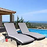 Patio Furniture PE Rattan Black Recliners Garden Chaise Lounge Set of 2 Outdoor Lounger Light Grey Cushion