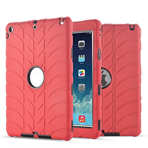 New iPad 9.7 Inch 2018/2017 Case, UZER Tire Pattern Shockproof Anti-Slip Silicone High Impact Resistant Hybrid Three Layer Hard PC+Silicone Armor Protective Case Cover for New iPad 9.7 inch 2018/2017