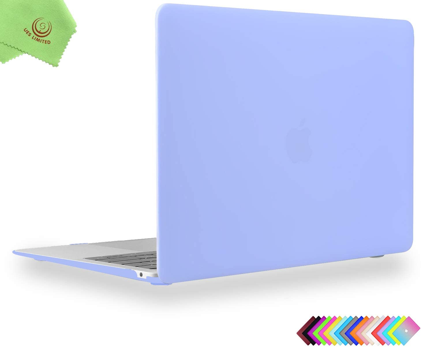 UESWILL Smooth Matte Hard Shell Case Cover for 2020 2019 2018 MacBook Air 13 inch Retina Display & Touch ID & USB-C Model A2179 A1932 + Microfibre Cleaning Cloth, Serenity Blue
