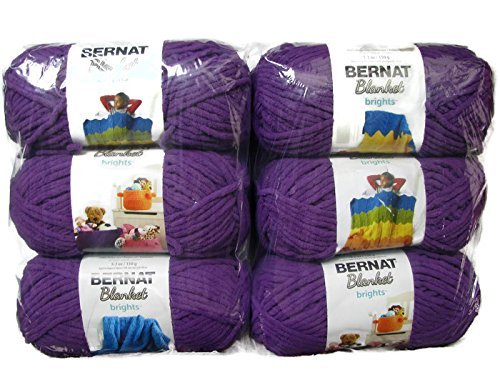Bernat Blanket Brights Yarn, 5.3oz, 6-Pack (Pow Purple)