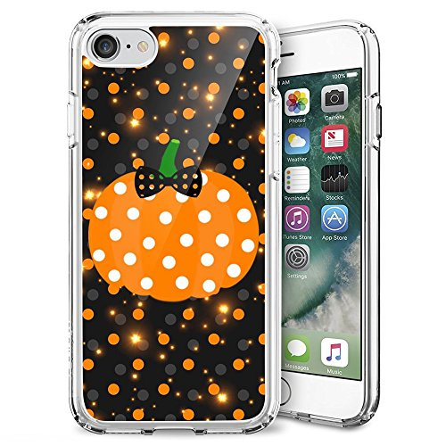 iPhone 7/iPhone 8 Case, Sangkoo Halloween Pumpkin Orange with Bow Bowknot Pattern Design Soft TPU Rubber Case for iPhone 7(2016) & iPhone 8(2017)