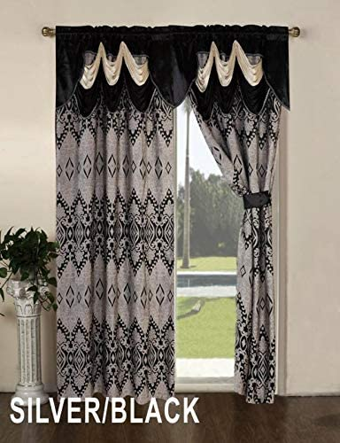 Sapphire Home Window Curtain Panel Set 84 Inch Length w Attached Valance and Solid Sheer Backing, 2 Tassels, Rod Pocket, Unique Floral Diamond Embroidery Curtains, Alice, 84 , Black Silver