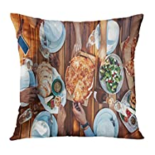 Emvency Throw Pillowcase Square Size 16 x 16 Inches Above Top View of Group Friends Having Food and Drinks Enjoying The at Housewarming Party Pizza Dining Fashion Zippered Home Decor Cushion Covers