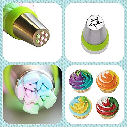 Attachments for Cakes Cupcakes Cakes Decorative Silicone Baking Set MoNiRo Stainless Steel Piping Nozzles Set of 15/Russian Russian Nozzles and Icing Bag