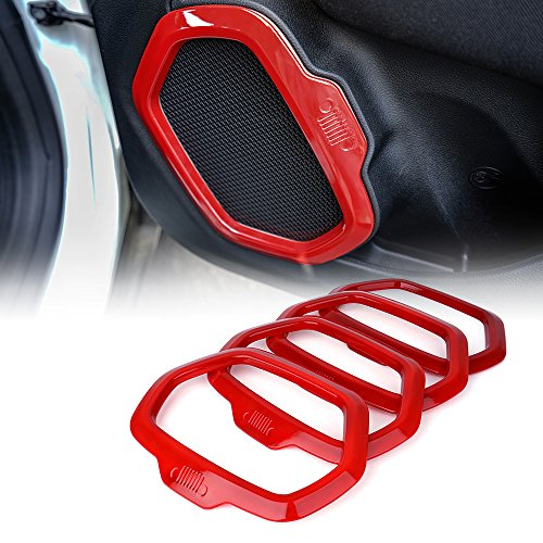 Xprite Red Interior Door Speaker Cover Trim for 2015-2017 Jeep Renegade