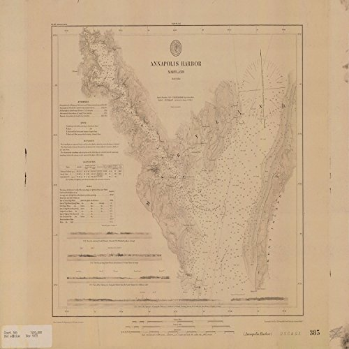 Vintography c.1879 24 x 32 Reprinted Old Nautical Chart Drawing Annapolis HARBORUS Coast & Geodetic Survey_2672 by Vintography