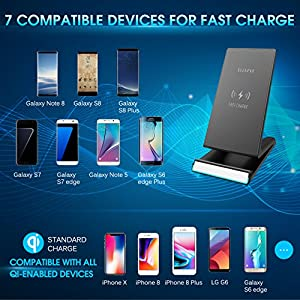 iPhone X Wireless Charger, ElleSye Fast Wireless Charger Charging Stand Pad for Samsung Galaxy Note 8 S8 S8 Plus S7 S7 Edge Note 5 S6 Edge Plus, Standard Charge for Apple iPhone X / 8 / 8 Plus