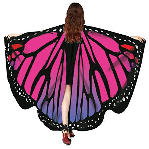 FEITONG Halloween Women Butterfly Wings Shawl Scarves Ladies Nymph Pixie Poncho Costume Accessory, 168x135cm(168x135cm,B-Hot Pink)