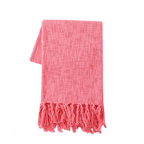 SLPR 100% Cotton Throw Blanket with Fringes (50