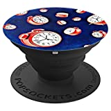 Alarm Clocks Time to Go Blue and Red - PopSockets Grip and Stand for Phones and Tablets