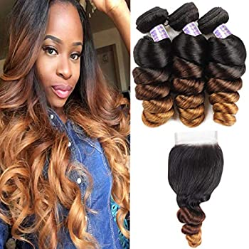 Image of Allove Hair Brazilian Loose Wave Ombre Bundles With Closure (14 16 18+12inch) 3 Bundles with 4X4 Lace Closure Free Part Virgin Remy Hair 10a 3 Tone 1B/4/27 Ombre Weave Human Hair