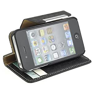 NEEWER® Faux Leather Side Turn Wallet Case Cover With Card Holder For iPhone 4/4S (Black)