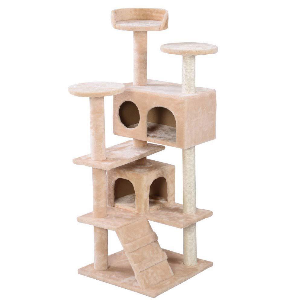 Beige ZDY Multi-layer Cat Tree Cat Home,Indoor Deluxe Cat Furniture,cat Rest Platform Covering The Pillars Of Sisal,Beige