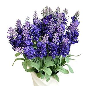 Amiley 1pcs lavender Artificial Fake Flower Bush Bouquet Home Wedding Decor 14