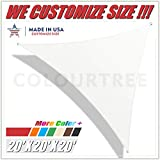 ColourTree 20' x 20' x 20' White Triangle Sun Shade Sail Canopy – UV Resistant Heavy Duty Commercial Grade -We Make Custom Size