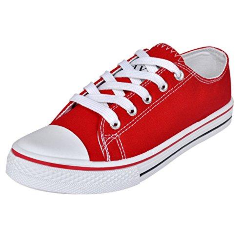 Anself Damen Low Top Schnür Sneaker Turnschuhe Basic Freizeit Schuhe Rot Größe 40