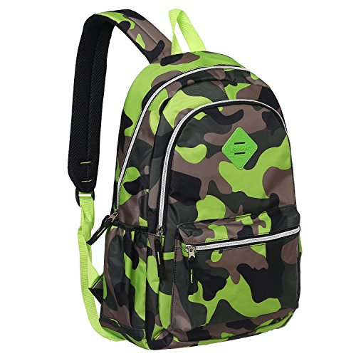 Camouflage 19-Inch Student School Book Bag & kid's Sports Backpack, Green