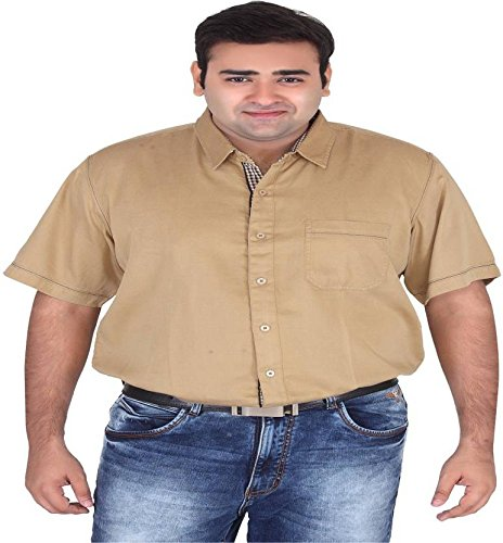 8a9a181e5bcc9 Xmex Plus Size Beige Mens 100% Cotton Shirts  Amazon.in  Clothing    Accessories