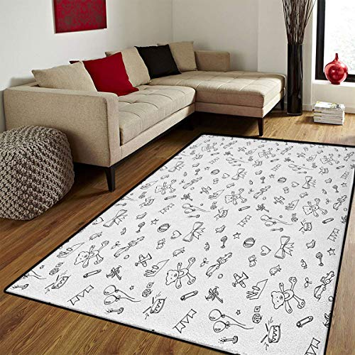 Pelican Bath Toy - Kids,Bath Mats Carpet,Cute Baby Icons Doodle Style Various Toy Figures Newborn Toddler Scribble Collection,Door Mat Increase,Black White,6.6x10 ft