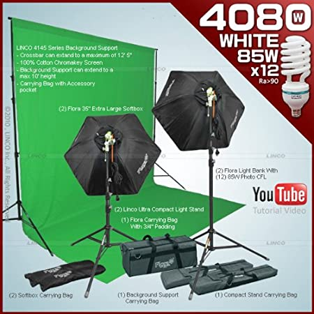 Amazon.com : Photography video studio Lighting kit with 2 Fluorescent Light Bank Linco Flora +2 35 Hexogen Easy Softbox Linco Flora +2 8308 Compact Light ...