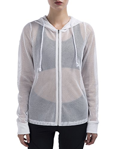 (SPECIALMAGIC Sheer Jacket Women's Long Sleeve Full Mesh Hooded Hoodie with Metal Zip White M)