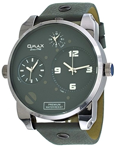 Time Grey Dial - Omax #N004P99A Men's XL Oversized Triple Time Zone Grey Band and Dial Watch