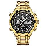 Luxury Fashion Mens Watches Gold Stainless Steel Heavy Sport Chronograph Waterproof Date Alarm