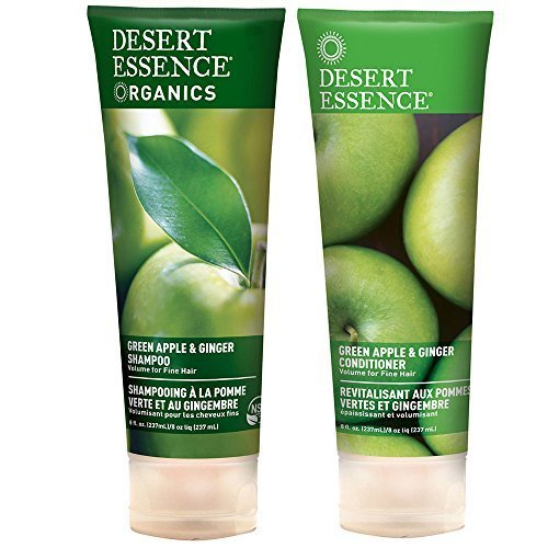 Desert Essence All Natural Organic Green Apple & Ginger Volumizing Shampoo and Conditioner Bundle With Aloe Vera, Kelp, Nettle and Ginger for Cleansing Environmental Pollutants, 8 fl. oz. each