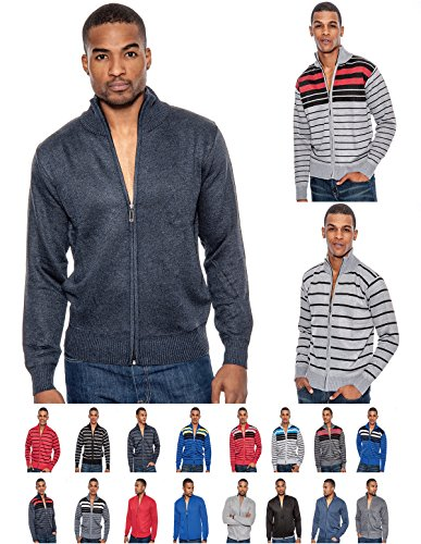 Enimay Men's Business Casual Fashion Half Zip Striped Long Sleeve Sweater Jacket