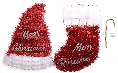 (Set of 2) Potomac Banks Christmas Tinsel Stocking and Hat Wall Decoration, 13 in. with Free 6