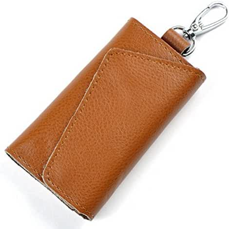 Leather Key Case Wallet Mens Womens Pure Color Key Holder Bag Wallet