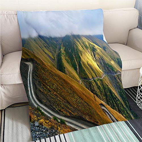 - BEICICI Customized Comfortable 100% Soft Premium Blanket View in The Caucasus Mountains Road to Omalo in Tusheti Region Georgia Sofa Bed or Bed 3D Printing Cool Quilt