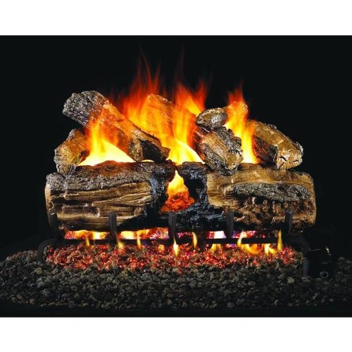 Peterson Real Fyre 30-inch Burnt Split Oak Gas Log Set With Vented Natural Gas G45 Burner - Match Light by Peterson Real Fyre