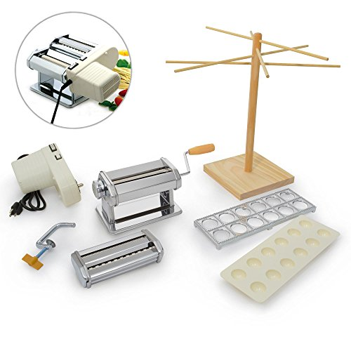 NORPRO Pasta Sets - Pasta Machine, Pasta Drying Rack, Ravioli Maker, Garlic Press (Steel Unfinished Rolling Pin)