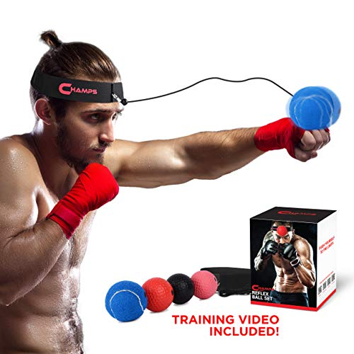 Champs Boxing Reflex Ball Boxing Equipment Fight Speed, MMA Boxing Gear Pro Punching Ball - Great for Reaction Speed and Hand Eye Coordination Training Reflex Bag Alternative (Set of 4)