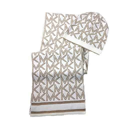 Metallic MK Logo Striped Scarf & Hat Set, Cream/Gold ()