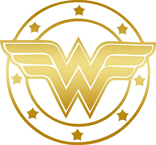 (ANGDEST DC Comics Wonder Woman (Metallic Gold) (Set of 2) Premium Waterproof Vinyl Decal Stickers for Laptop Phone Accessory Helmet Car Window Bumper Mug Tuber Cup Door Wall Decoration)