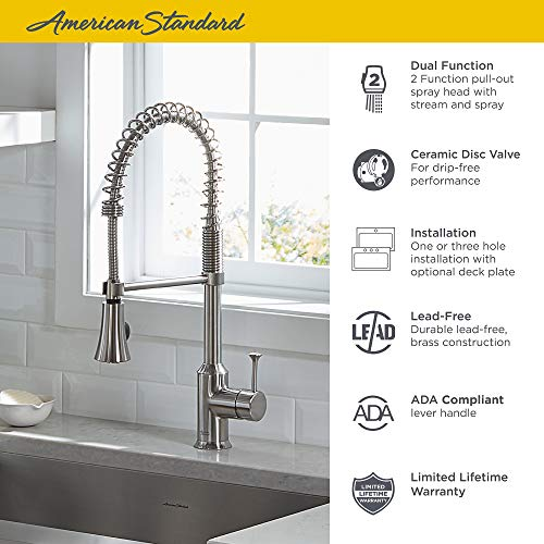 American Standard 4332.350.075 Pekoe Semi-Professional Single Control Kitchen Faucet, Stainless Steel - smallkitchenideas.us