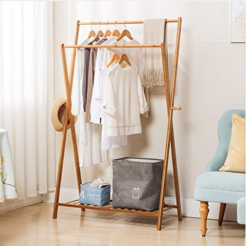 Nesee Multifunctional Double Pole Bamboo Coat Rack Shoe Rack with 2 Side Hooks X-Frame Garment Rack, Easy Assembly (Ship from US)