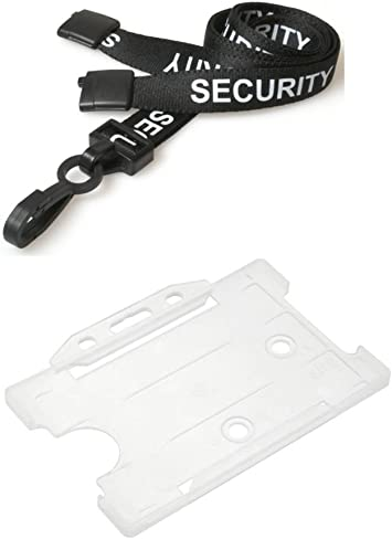 Black ID Neck Strap Cord Lanyard Metal Clip /& Clear Card Badge Tag Pass Holder