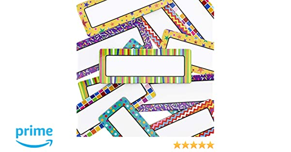 Juvale 36-Pack Dry Erase Magnetic Name Tag Plates, Classroom Labels,  Assorted Designs, 3 x 1 Inches