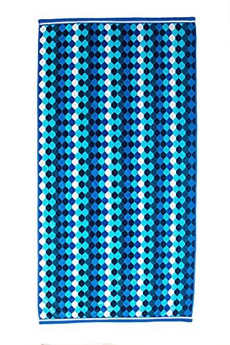 - ST . TROPEZ Diamond Drop Navy (36in X 70in) Velour Jacquard Beach Towel