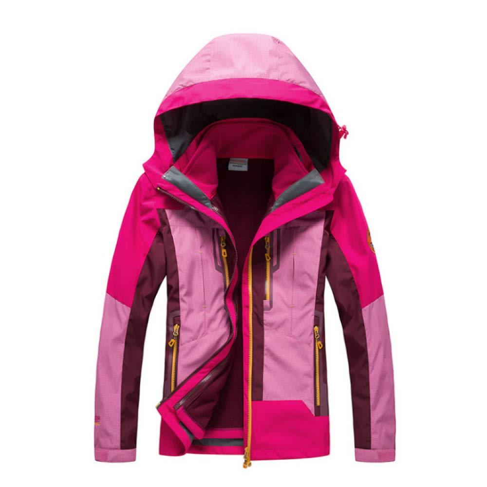 Damen Outdoor Jacke Zweiteiliges Set wasserdichte Winddichte Regenjacke Warme Ski-Jacken 3 In 1 Winterjacke Sports Jacke Warmer Mantel Skijacke Freizeitjacke Große Größen,Pink-L