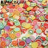 DANCINGNAIL 1000pcs Flower Fruit Animal Fimo Cane Slice Tiny DIY Nail Art Decoration (fruit) by Lovestore2555