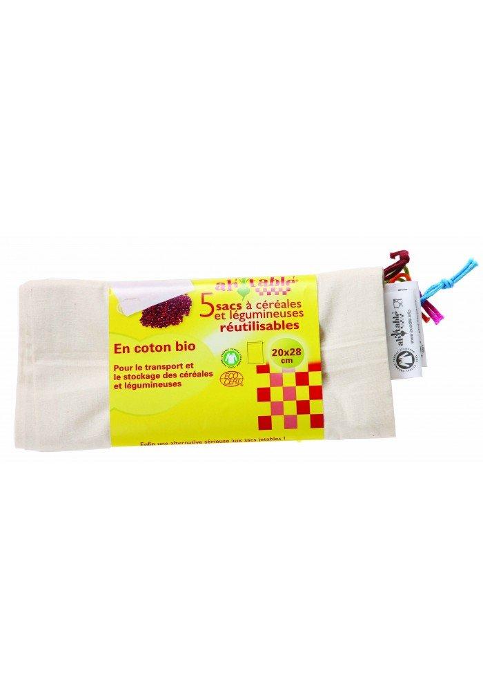 Ecodis en coton bio 5 Sacs r/éutilisables c/ér/éales et l/égumineuses