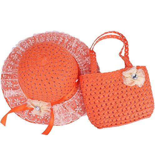 YOPINDO Baby Straw Sun Hat Summer Beach Cap Foldable Dress up Hat Purse Set (9211 -