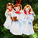 Singing Angel Trio Ornament Handcrafted Wooden Christmas Decor, Mid-Century Modern 1950s Card Personalized Friends Sisters Angel Wings Choir